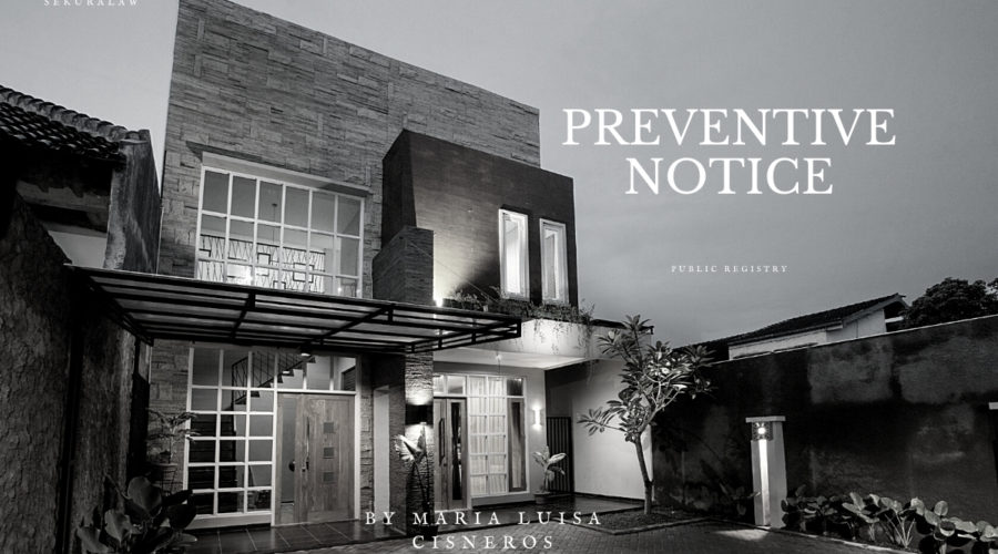 PREVENTIVE NOTICE by Maria Luisa Cisneros